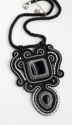Cubic raw rope necklace, soutache necklace, black pendant, gift idea,