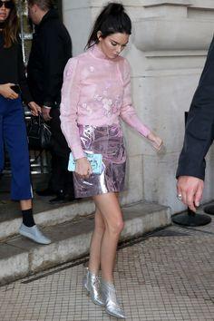 Wearing a sheer pink blouse, metallic skirt and booties to the Shiatzy Chen show during Paris Fashion Week.    - HarpersBAZAAR.com