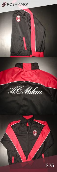 AC Milan Training Jacket AC Milan training jacket for the hardcore athlete training in colder weather or hardcore fan who wants to support their team! Warm yet light and semi new! Jackets & Coats Performance Jackets