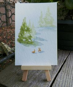 Woodland Bunnies Forest of Pine Tree Watercolor Art by grandhorse, $12.00