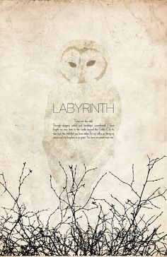 Labyrinth: Science Fiction and Fantasy Cult Movie Poster - 11x17 Vintage Art Print.  via Etsy.