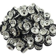New! 5AAA+ Quality 50 piece/lot Cheap Handmade Rhinestone Loose Crystal Silver Plated Rondelle Spacer Beads ping