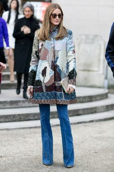 Gorgeous embroidered coat. Paris #OliviaPalermo