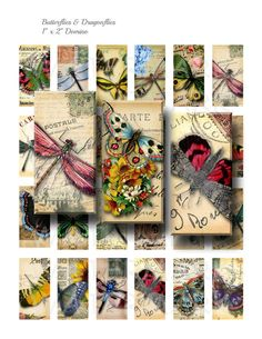 Butterflies and Dragonflies  Digital Collage Sheet  1 by OldMarket, $3.00