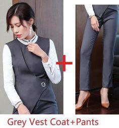 Grey Formal Uniform Designs Pantsuits With Pants Vest Coat Waistcoat Business Work Wear Pants Suits Size S Color Grey