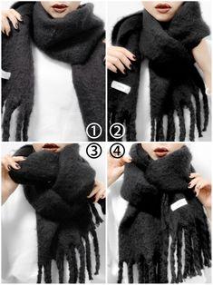 ファッション ファッション in 2019 Fashion Wear, Daily Fashion, Fashion Outfits, Womens Fashion, Ways To Wear A Scarf, How To Wear Scarves, Hijab Style Tutorial, Scarf Dress, Winter Mode