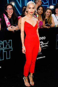 About Last Night: Zoe Kravitz's red hot Oscar de la Renta jumpsuit   Pret-a-Reporter