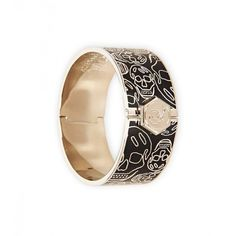 Alexander McQueen Black Enamel & Silver-Tone Brass Skull Bracelet (9.120 RUB) found on Polyvore