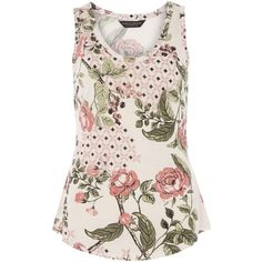 Dorothy Perkins Blush floral tile vest top ($21) ❤ liked on Polyvore featuring tops, shirts, pink, pink shirts, floral tank, floral tank top, sleeveless tank tops and floral shirt