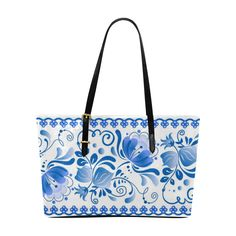Beautiful Blue Russian Vintage Floral Pattern Euramerican Tote Bag/Large (Model 1656)