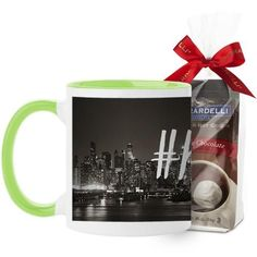 Hustle Mug, Green, with Ghirardelli Premium Hot Cocoa, 11 oz, White