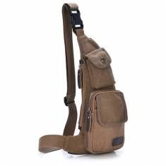 Men Canvas Casual Sport Travel Outdoor Chest Crossbody Bag