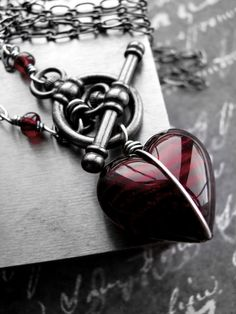 Heart of Darkness - Red Heart Pendant Necklace, Red Murano Glass Heart - Sexy Love Valentine Gift for Rocker Goth Gothic Girlfriend