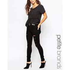 Noisy May Petite Extreme Rip Skinny Jean (72 AUD) ❤ liked on Polyvore featuring jeans, black, black destroyed jeans, super skinny jeans, skinny leg jeans, ripped jeans and skinny jeans