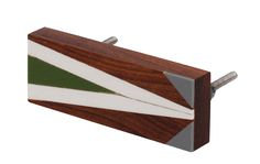 Bulk Wholesale Handmade Rectangular Shaped Wooden Handle for Doors / Kitchen Cabinets – Decorated with Geometric Patterns in White, Green & Grey Colors – Home Décor