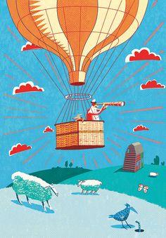 #paulboston #meiklejohn #illustration #digital #stylised #hotairballoon #landscape