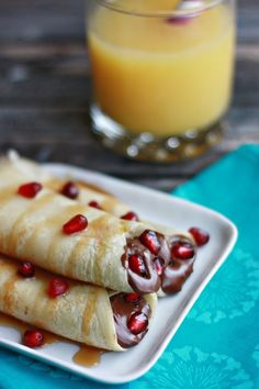 Nutella Pomegranate Crepes by www.notyourmommascookie.com