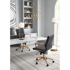 Modern Adjustable Office Chair White/Gold - ZM Home Black And White Office, Black Office Chair, Office Chairs, Room Chairs, White Gold, Black White, Office Interior Design, Office Interiors, Office Designs