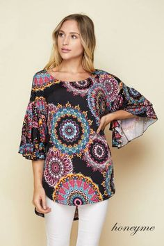 bcafe34a Honeyme Honeyme Venezia Ruffle Sleeve Top Interstate 75, Trendy Clothes For  Women, Trendy Outfits