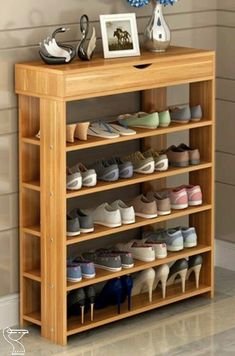 Wooden Shoe Rack Design Ideas Holzschuhregal Design-Ideen Antique Bedroom Furniture Article Body: An Shoe Storage Diy, Diy Shoe Rack, Shoe Storage Cabinet, Closet Storage, Storage Shelves, Storage Ideas, Closet Organization, Organization Ideas, Closet Shelves