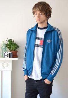 90s Vintage Adidas Minimal Blue Track Jacket | Ica Vintage | ASOS Marketplace