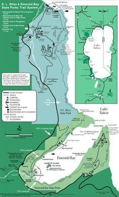Emerald Bay State Park and DL Bliss State Park Trail Map - Tahoma California Lake Tahoe Map, Lake Tahoe Hiking, Lago Tahoe, Emerald Bay Lake Tahoe, South Lake Tahoe, Jeep Trails, Park Trails, Rubicon Trail, Kayak Camping