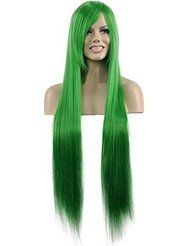 LONG LONG STRAIGHT STRAIGHT GREEN WIG