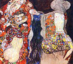 Gustav Klimt - Adorn the bride with veil and wreath - 1917 - 1918 Oil on canvas 166 × 190 cm
