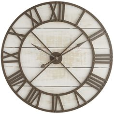 Focal point for the living room. - $299 -  Substantial in size and framed on a background of wood planks, the wooden face features Roman numerals and hour/minute hands.