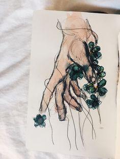 PIN: @mystolendreams   IG: suus.jk Tumblr Drawings, Art Drawings, Art Hoe, Art Plastique, Art Tips, Art Sketches, Watercolor Paintings, Painting & Drawing, Art Boards