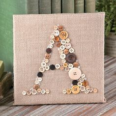 Create personalized gifts for friends and family with this fun Buttons & Burlap Monogram Canvas Décor Idea.