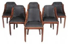 Set Of Six Art Deco Ebonized dining chairs