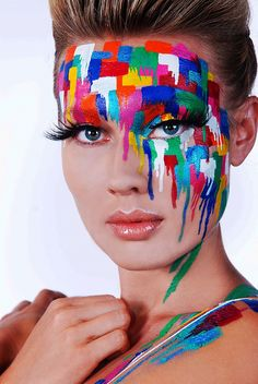 Color blocks face painting… this would be one fun option for an art party. – Beth Woods Color blocks face painting… this would be one fun option for an art party. Color blocks face painting… this would be one fun option for an art party. The Face, Face And Body, Make Up Art, How To Make, Art Visage, Full Body Paint, Fantasy Make Up, Fantasy Hair, Dark Fantasy