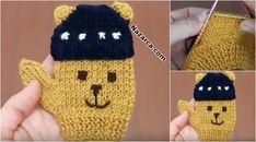 Ayıcıklı Erkek Bebek Eldiveni Yapımı - Teddy Bear Gloves for Baby Bo. Knitting Videos, Loom Knitting, Baby Knitting, Knitting Patterns, Knit Mittens, Knitted Gloves, Crochet For Kids, Crochet Baby, Knitted Teddy Bear
