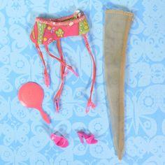 Vintage Mod Barbie 1821 Under Liners Garter Single Nylon Pink Heels Mirror GUC #Mattel #ClothingShoes