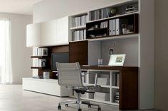 aménagement bureau moderne en bois massif et laqué blanc, chaise design assortie et carrelage sol gris perle