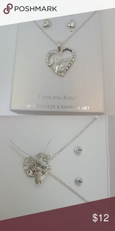 "Silver plated ""Nana""necklace and earrings set Silver played ""Nana"" necklace and earring set Jewelry Necklaces"