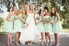 Bridesmaids Mint Green Wedding
