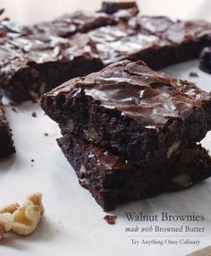 Cocoa Brownies with Browned Butter and Walnuts from Bon Appetit