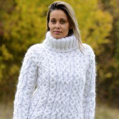 53b4d78a254801 BLACK Hand Knitted Mohair Sweater Turtleneck Cardigan Pullover EXTRAVAGANTZA  M L   eBay