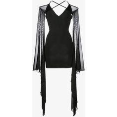 Balmain Balmain Ruffle Sleeve Mini Dress (£1,525) ❤ liked on Polyvore featuring dresses, cutout shoulder dresses, cold shoulder dress, mini dress, short long dresses and sheer long sleeve dress