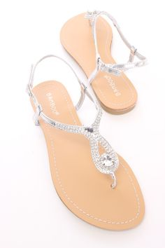 ea25a5856 Silver Rhinestone Thong Sandals Faux Leather