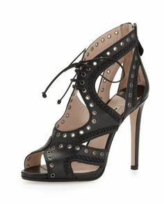 Napa Lace-Up Eyelet Sandal, Black by Miu Miu at Bergdorf Goodman.    SEXY BUT TOUGH.  LOVE IT!!!!!!!!!!!!!!