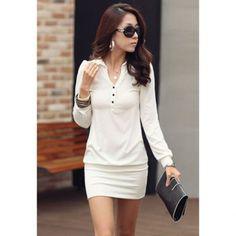 Trendsetter V-Neck Button embellecido color sólido de manga larga para adelgazar en el vestido de la mujer de cadera para Vender - La Tienda En Online IGOGO.ES