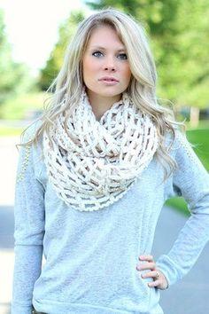 Cream Waffle Infinity Scarf #nanamacs #scarf #scarves #infinity #fall2015