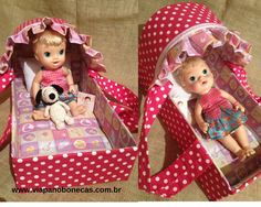 Baby Doll Diaper Bag, Baby Doll Bed, Baby Dolls, Baby Alive Doll Clothes, Baby Alive Dolls, Diy Projects For Kids, Diy For Kids, Kids Play Corner, Accessoires Barbie