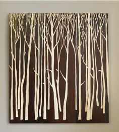 Palecek - Birch Forest Wall Decor, Set of Brown - Tung wood panels painted brown with birch tree hand-carved to reveal natural wood tone. Brown Wall Decor, Wall Decor Set, Wall Art Sets, Art Decor, Decor Ideas, Tall Wall Decor, Decorating Ideas, Room Decor, Tree Wall Art