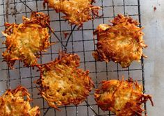 Adam and Maxine's Famous Latkes.   Russets are ideal for latkes. Their high starch content means you won't need flour to bind the pancakes. The result? More potato, and a crunchy (not cakey) texture.