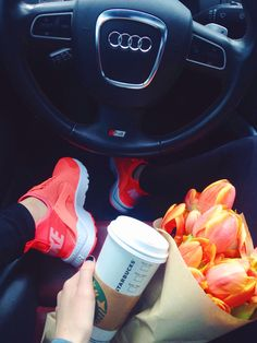 Friday Errands. Nike Air Huarache Ultra in Mango. Audi S4. Tulips. Starbucks Coffee.