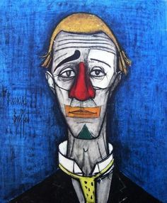 Vintage Mid Century Bernard Buffet Print on Board - Tete de Clown Art And Illustration, Illustrator, Oil On Canvas, Canvas Prints, Le Clown, French Paintings, Edvard Munch, Send In The Clowns, Social Art